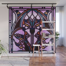 Pink Blue and Green Glowing Art Nouveau Stain Glass Design Wall Mural