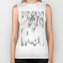 Black White Winter Design Biker Tank