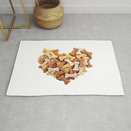 Dog biscuits Valentine heart Rug