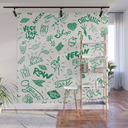 Organic Food Hand Lettering Print Wall Mural