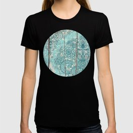 Teal & Aqua Botanical Doodle on Weathered Wood T-shirt