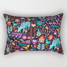 Swedish Folk Art Design Rectangular Pillow