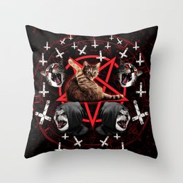 satanic cat pentagram death black metal band exorcist Throw Pillow