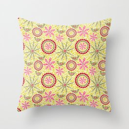 Birds and Flowers Mosaic - Yellow, green and pink Throw Pillow