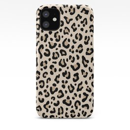 BLACK and WHITE LEOPARD PRINT – Ecru   Collection : Leopard spots – Punk Rock Animal Prints. iPhone Case