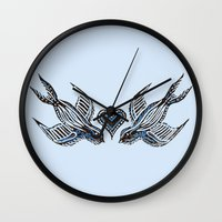 swallow Wall Clocks featuring Swallow love by Isobel Woodcock Illustration
