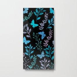 Watercolor flowers & butterflies II Metal Print