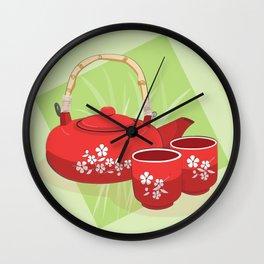 Red Tea Set Wall Clock