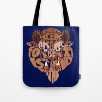 beauty and the beast Tote Bags featuring beast by Rebecca McGoran