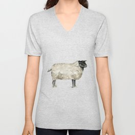 Sheep, Farmhouse Watercolor, Rustic Painting Unisex V-Neck