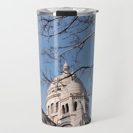 Sacre Coeur under the Tree Branches Travel Mug