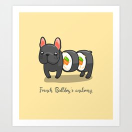 French bulldog maki sushi Art Print