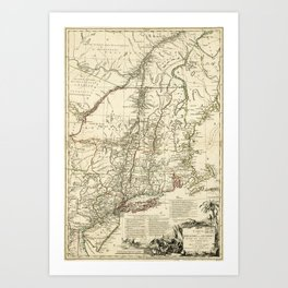 American Revolutionary War Map (1782) Art Print