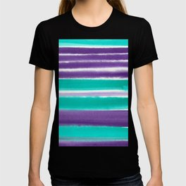 Teal and Purple Watercolor Stripes T-shirt