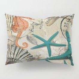 french botanical art seahorse teal green starfish Pillow Sham