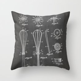 Whisk Patent - Baking Art - Black Chalkboard Throw Pillow