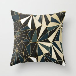 New Art Deco Geometric Pattern - Emerald green and Gold Throw Pillow