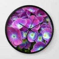 hydrangea Wall Clocks featuring Hydrangea by Trevor Jolley