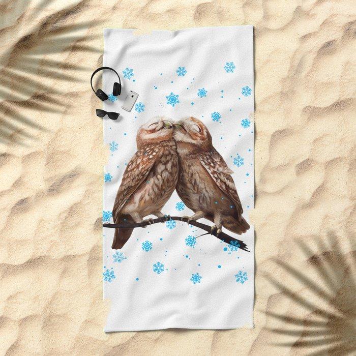 Winter Owls Beach Towel