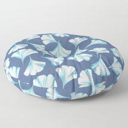 Ginkgo in Blues on Blue Pattern Floor Pillow