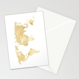 Gold World Map Stationery Cards