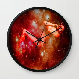 Red Galaxy Woman : Nude Art Wall Clock