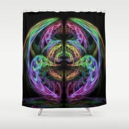 Neon Swan Shower Curtain