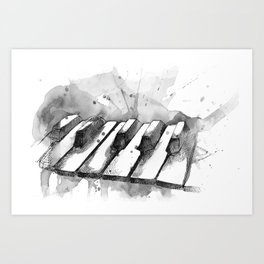 Watercolor Piano (Grayscale) Art Print