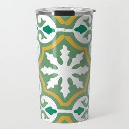 Moroccan Mosaic Tile Pattern Green Yellow Travel Mug