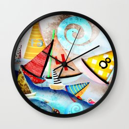 Wooden sail boat Love - Wild ocean waves Wall Clock