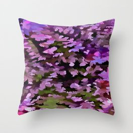 Foliage Abstract Pop Art In Ultra Violet and Purple Throw Pillow