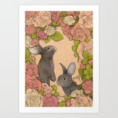 Rosie Rabbits Art Print