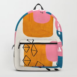 Mid Century Modern abstract Minimalist Fun Colorful Shapes Patterns Pink Teal Yellow Ochre Bubbles Backpack