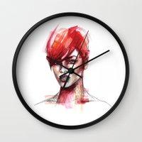 rihanna Wall Clocks featuring Rihanna by Allison Kunath