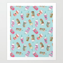 Coffee Crazy Toss in Blueberry Art Print