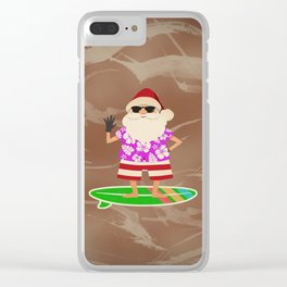 Santa Claus Surfing Clear iPhone Case