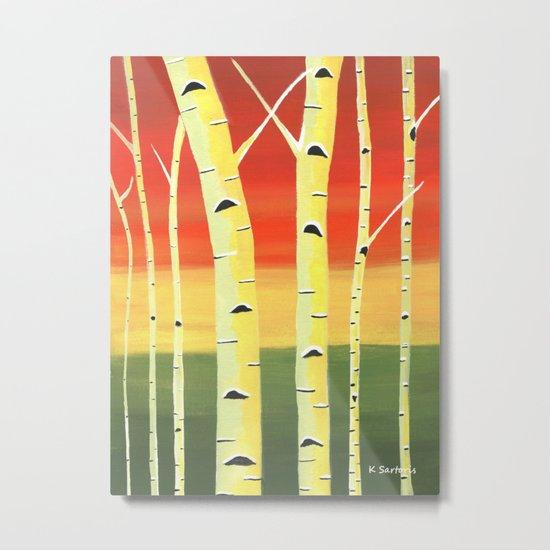 Birch Woods Metal Print