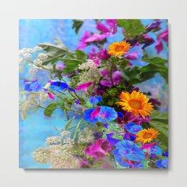 BLUE FLOWERS QUEEN ANN'S LACE BLUE STILL LIFE Metal Print