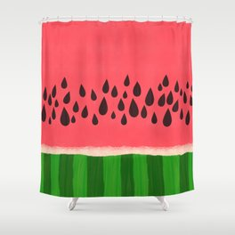 Pink and Green Watermelon Shower Curtain