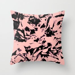 Old Rose Black Abstract Military Camouflage Throw Pillow