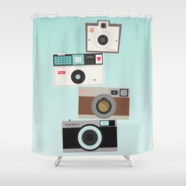 Retro Camera Print  Shower Curtain