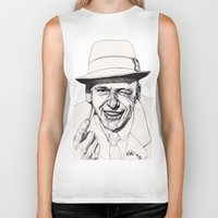 frank sinatra Biker Tanks featuring Frank by Paul Nelson-Esch Art