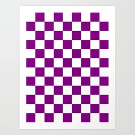 Checkered - White and Purple Violet Art Print