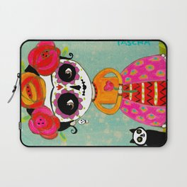 Day Of The Dead Frida with Black Cat Laptop Sleeve