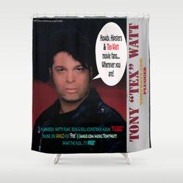 """The Tony 'Tex' Watt Jango Radio """"Plugged"""" Album Poster Shower Curtain"""