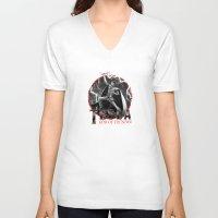 tesla V-neck T-shirts featuring Tesla: God of Thunder by The Cracked Dispensary
