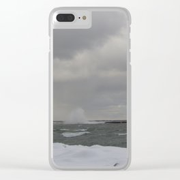 High Waves over Break Wall 2 Clear iPhone Case
