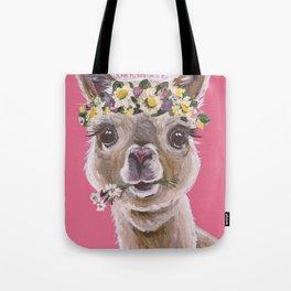Alpaca Art, Alpaca Flower Crown Tote Bag