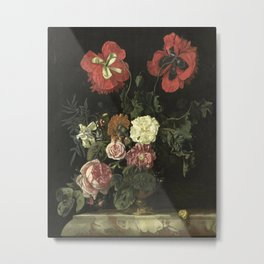 Still Life with Flowers, Nicolaes Lachtropius, 1667 Metal Print