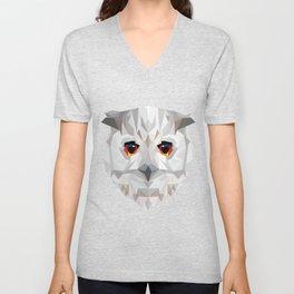 Geometric White Owl Unisex V-Neck